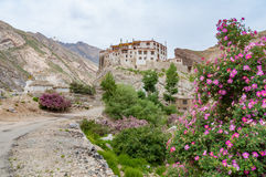 Solitary buddhist monastery in mountains with blooming rose shrubs Royalty Free Stock Photo