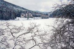 Solitary building in beautiful snowy winter forest landscape, frozen Brezova dam stock image