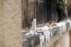 Solitary candle. An image of a solitary candle on an altar royalty free stock photography