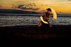Solitary Fire Dancer Royalty Free Stock Images