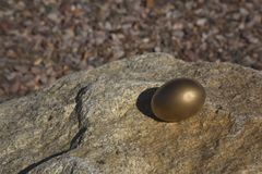 Solitary gold egg perched on large rock Stock Photography