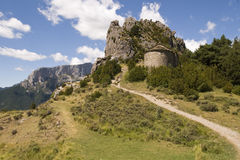 Solitary hermitage on the mountain in the Aragonese Pyrenees, Sp. Rock shrine on the mountain in the Aragonese Pyrenees, Spain Stock Images