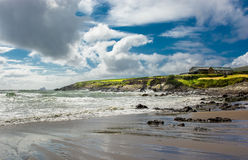 Solitary House at Beach and Coast in Ireland Stock Photos