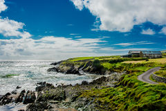 Solitary House at Beach and Coast in Ireland Stock Image