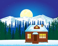 Solitary house in mountain Royalty Free Stock Photos