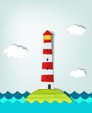 Solitary island lighthouse Stock Images