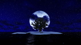 Solitary island and tree surrounded by ocean against full moon, snowing stock video