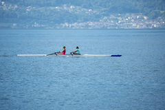 Solitary kayak on Geneva lake Royalty Free Stock Photo