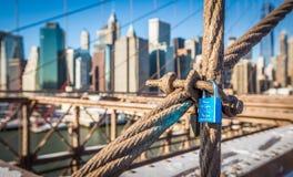 Solitary Love-lock on Brooklyn Bridge Stock Image
