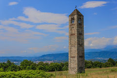 The solitary medieval stone bell tower of Saint Martin called the Ciucarun Stock Photos