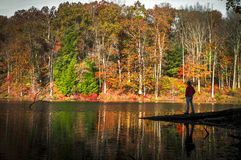 A solitary moment at Rose Lake at Hocking Hills in the Fall Royalty Free Stock Photography
