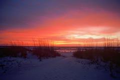 Panhandle Sunrise, Christmas Day, Florida. Solitary Panhandle Sunrise, with Colored Skies, Christmas Day, Florida royalty free stock photos
