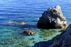 Solitary rock. The magnificent beach of Cavoli on Elba's island, Italy. summer is magic Royalty Free Stock Photo