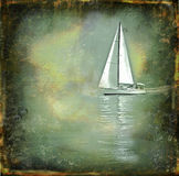 Solitary sailing boat on a grunge texture. A sailing boat on a grunge texture framed by water drops royalty free stock image