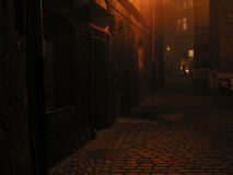 Solitary street. Solitary and mysterious street at foggy night; Gdansk, Poland