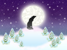 Solitary wolf. Sitting on background of the moon Stock Photos