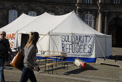 Solitdarty mit Flüchtlingen Stockfotografie