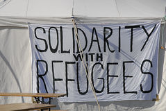 Solitdarty with refugees Stock Images