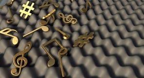 Solitt motståndskraftigt skum och musikaliska symboler Arkivfoto
