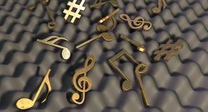 Solitt motståndskraftigt skum och musikaliska symboler Fotografering för Bildbyråer