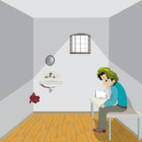 Solitude. Cartoon drawing of a sad man in a lonely room Stock Photos