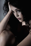 Solitude. Lonely sad depressed young woman Royalty Free Stock Images