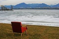 Solitude. Chair near water basin Liptovska Mara, Slovakia Royalty Free Stock Photos