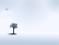 Solitude. A minimal landscape with one tree, one cloud, and one bird Vector Illustration
