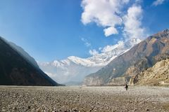Solitude. Hiking in the Himalayas can be tiring but oh so beautiful at the same time. Here I photographed my friend crossing this riverbed in the dry season Royalty Free Stock Photography
