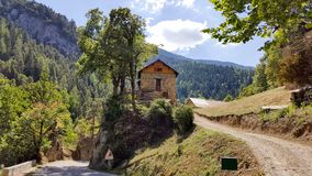 A solitude house next to road in middle France Royalty Free Stock Photo