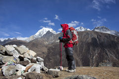 Solitude lady trekking in Himalayas region Royalty Free Stock Image