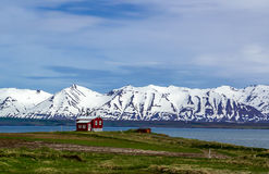 Solitude. A lonely house in an Icelandic fjord near Husavik Royalty Free Stock Photography