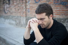Solitude man. Portrait of a lonely man in a street Royalty Free Stock Image