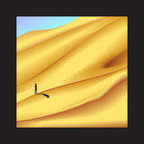 Solitude. Ong way in Sahara desert in black frame, lonely man is standing on dune, wilderness in frame, recollection of Africa, long journey, vector Stock Image