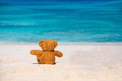 Solitude Teddy Bear s'asseyant sur la plage. images libres de droits