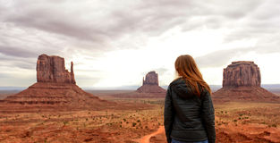 Solitude and Travel to the Desert in Monument Valley. Wanderlust, Solitude and Travel to the Desert in Monument Valley Royalty Free Stock Image