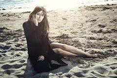 Solitudine alla spiaggia Fotografia Stock Libera da Diritti