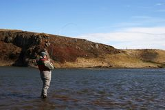 Solitudine Flyfishing Fotografia Stock Libera da Diritti