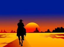 Solivagant. Solitary horse rider on mystery tour vector illustration