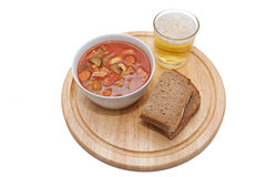 Soljanka, Russian soup with beer and bread Stock Image
