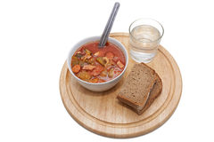Soljanka, Russian soup with wodka and bread Royalty Free Stock Photo