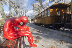 Soller,Balearic Islands,Spain. Red sculpture in station, touristic old train Soller-Palma,Soller, Mallorca island, Balearic Islands Stock Photography