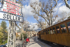 Soller,Balearic Islands,Spain. Station, touristic old train Soller-Palma, city sign, Soller, Mallorca island, Balearic Islands Royalty Free Stock Photography