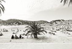 Soller beach blue white parasols Royalty Free Stock Photo