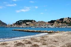 Soller-Hafen von Mallorca mit Booten Lizenzfreie Stockfotografie