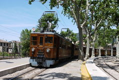 The Soller Train. Connects the capital of Majorca (Palma) to the orange growing region of Soller, and has been in regular use for a hundred years Royalty Free Stock Photos