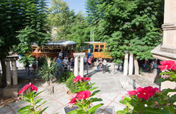Soller train station with flowers Royalty Free Stock Photos