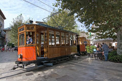 Soller tram Mallorca. SOLLER, MALLORCA, SPAIN - OCTOBER 2, 2016: Soller tram between port and main village on central plaza on a sunny day on October 2, 2016 in Stock Images