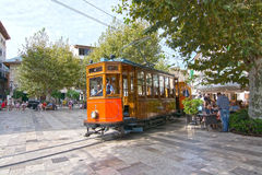 Soller tram Mallorca. SOLLER, MALLORCA, SPAIN - OCTOBER 2, 2016: Soller tram between port and main village on central plaza on a sunny day on October 2, 2016 in Royalty Free Stock Photos