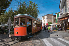 Soller tram Mallorca. SOLLER, MALLORCA, SPAIN - OCTOBER 2, 2016: Soller tram between port and main village on central plaza on a sunny day on October 2, 2016 in Stock Photography